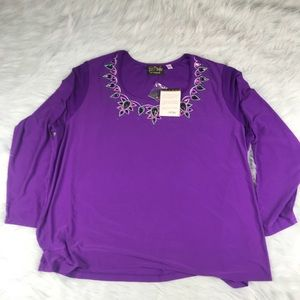 NWT Women's Purple Long Sleeve Shirt Size 2X